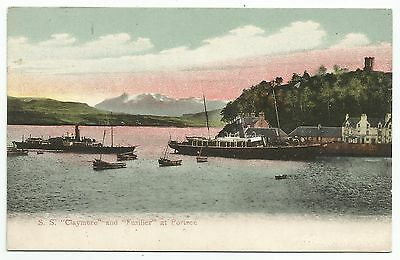 """POSTCARD-SCOTLAND-SKYE-PTD. The S.S. """"Claymore & """"Fusilier"""" at Portree."""