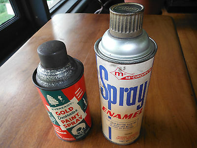 2 Vintage Spray Paint Cans GOLD Eveready McCrory's