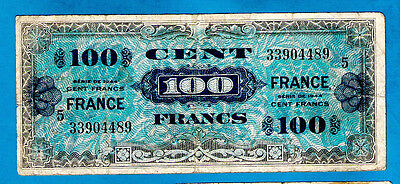 RARE BLOCK # 5 France P123c(2) 100 Francs ALLIED MILITARY NOTE 2nd Issue WW2 VF+