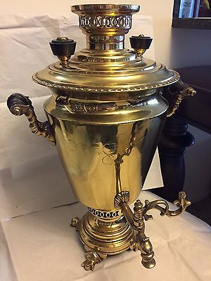 Antique Russian brass samovar, marked Panargin