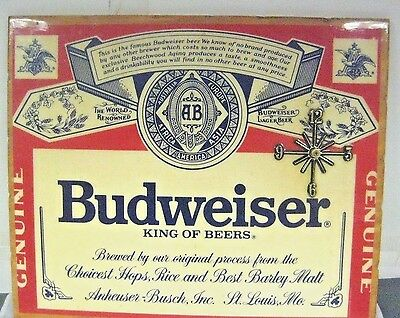 Vintage Budweiser King of Beers Wall Clock Wooden 18 1/8 X 15 1/8 Inches