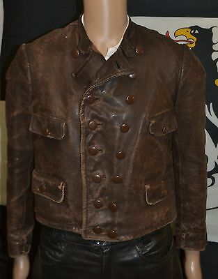 Original Old 1930s German Flight Leather Jacket Motorcycle Racing Vest 1940s