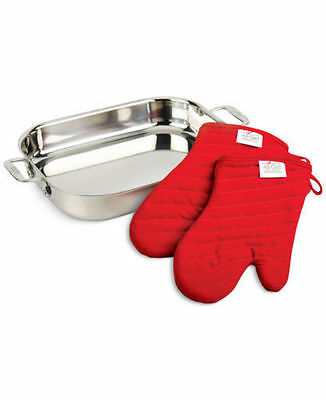 All-Clad Stainless-Steel Lasagna Pan with 2 Red Oven Mitts  $169.99
