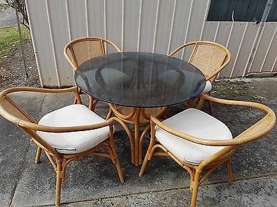 4 x Cane Chairs with Glass Table Top