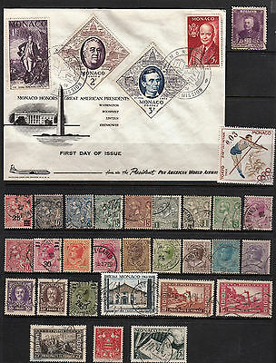 Early Monaco Stamps + Fdc