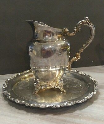 Oneida Royal Provincial Silver Plated Water Pitcher W/ice Guard And Tray