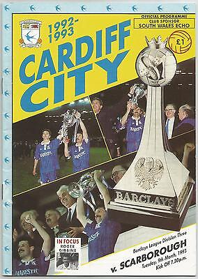 CARDIFF CITY v SCARBOROUGH 1992-93