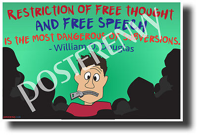 """""""Restriction of Free Thought..."""" - William O. Douglas NEW Famous Person Poster"""