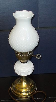 Vintage Milk Glass Hurricane Lamp With Hobnail Chimney And Antique Key Switch