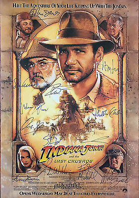 INDIANA JONES AND THE LAST CRUSADE MOVIE POSTER Signed by 14  w/COA!
