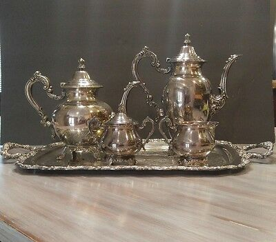 Vintage Oneida Silverplate Footed 5 Pc Coffee Tea Service Set Butler Tray
