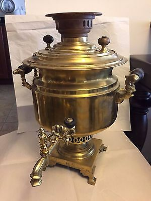 Antique Russian Heavy Brass Samovar, marked Tejle