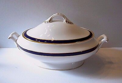 SPODE Consul Cobalt Blue Oval Covered Vegetable Serving Dish Bowl ~ Y3332-P