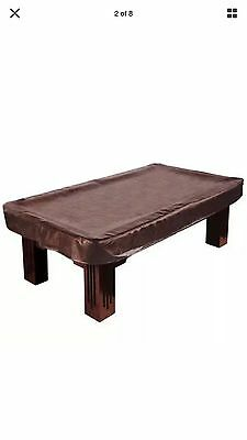 9 Foot Brown Heavy Leather Billiard Pool Table Cover Protects Pockers Corners