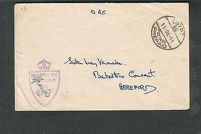 Egypt WWII OAS censor cover to Sister Mary Veronica Bartestree Convent Hereford