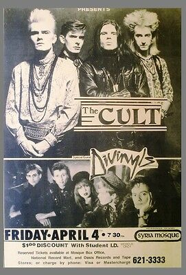 The Cult / Divinyls - Syria Mosque Pittsburgh 1986 New Laminated Gloss Poster