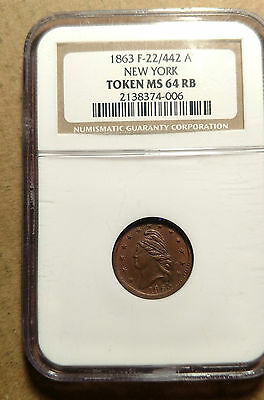 """1863 """"NEW YORK"""" US CIVIL WAR TOKEN NGC MS64 RB F22/442A Red Brown Certified"""