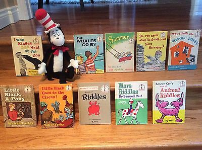 LOT Of 11 VINTAGE Dr. Seuss Books Plus a Cat in the Hat Plush Toy
