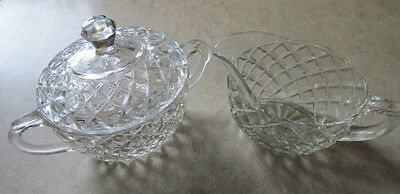 Cut Glass Vintage Sugar with Lid and matching Creamer, Clear, approx. 1 cup, VGC