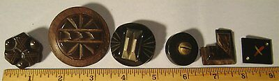 Lot of 6 Unusual Vintage Buttons - Not Sure of Material - Old