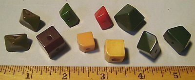 Lot of 10 Chunky Odd Shape BAKELITE Vintage Buttons - Used Old - Not Cleaned