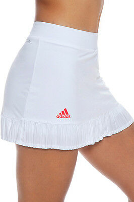 adidas Womens Adizero ClimaLite Tennis Skirt White/Shock Red with inner Skorts