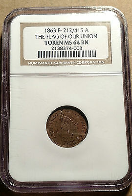 HIGH GRADE THE FLAG of OUR UNION PATRIOTIC CWT Civil War 212/415a NGC MS-64 RB