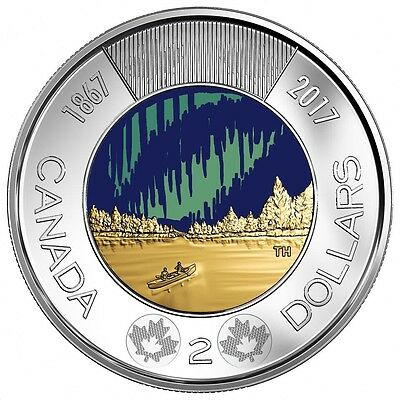 Canada 2017 Glow In The Dark Toonie $2 Coin From Roll UNC Dance Of The Spirits