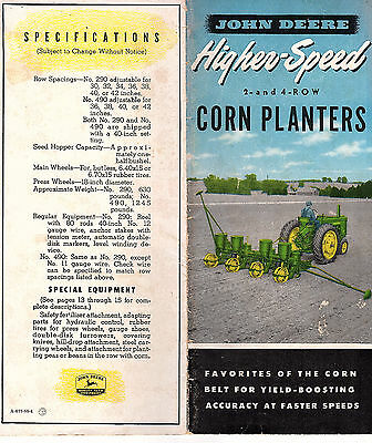John Deere Higher Speed 2 & 4 Row Corn Planters Vintage Farm Equipment Brochure