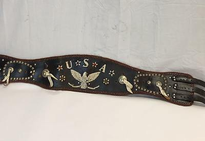 Vintage Motorcycle Kidney Belt with Stitching Reflectors Conchos Three Buckles