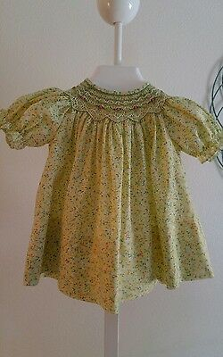 Rosalina Baby  girls Hand Smocked  Floral Yellow dress~6 mths