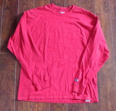 Men's Champion Long Sleeve Red Shirt Size XL Authentic Logo Vintage Style