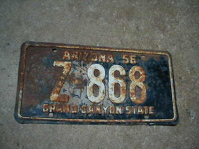 1956 Apache County, Arizona License Plate, Z-868, '56 Chevy Ford, FREE SHIPPING