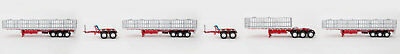 New Drake Maxitrans Freighter 2AB Quad Road Train Trailers Set Red & White 1:50