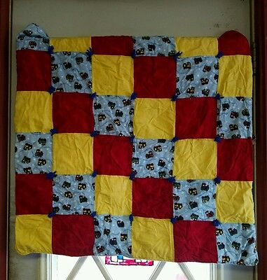 "HANDMADE BABY QUILT flannel, trains: red, yellow, blue squares 30"" x 30"" AWESOME"