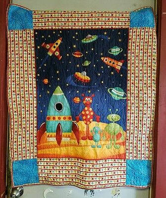 "HANDMADE BABY QUILT aliens, spaceship, galaxy, 39"" x 32"" oranges, blues AWESOME"
