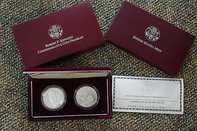 1998 Robert F Kennedy Proof and Uncirculated Silver Dollar Set in Box with COA