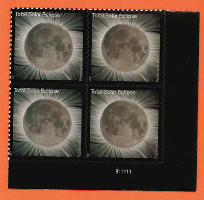 US Total Eclipse of the Sun Stamp, a Plate Block (#B11111) of 4 stamps ~ 2017