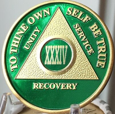 34 Year AA Medallion Green Gold Plated Alcoholics Anonymous Sobriety Chip Coin