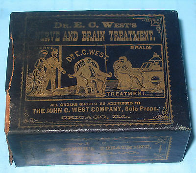 Dr EC West Nerve & Brain Treatment Medicine Box Chicago GRAPHIC Early & RARE