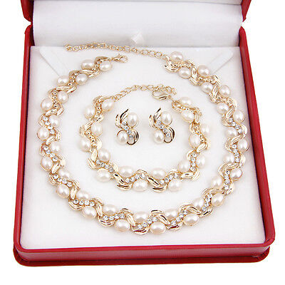New White Pearl Necklace Earring Set 18K Gold Plated Rhinestone Jewelry Sets