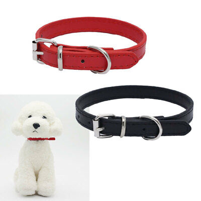 Adjustable Solid PU Leather Pet Dog Cat Puppy Collar Neck Strap Buckle Soft 1pcs