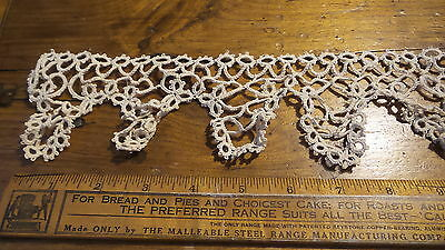 "Antique TATTED LACE TRIM Cream, 3 Yards, 3"" Wide, Hand-Made"