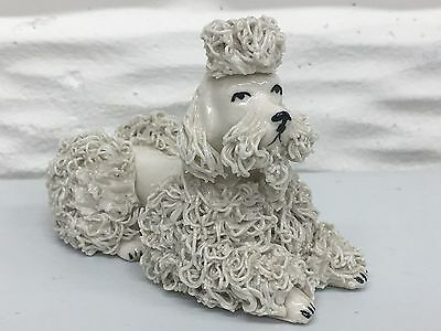 """Vintage Spaghetti Glass 3-1/2"""" White Reclining Poodle (Repaired Tail) Japan"""