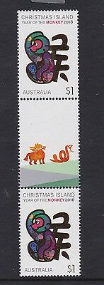 Christmas Island  # 2 : Year of the Monkey $1 Gutter pair with Design, MNH