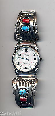 Vintage Running Bear Sterling Silver & Turquoise Watch Tips