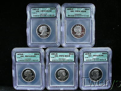 Lot Of 5 Pieces 1979-S 1981-S And 1999-P Susan B Anthony Dollars Icg Pr70 Dcam