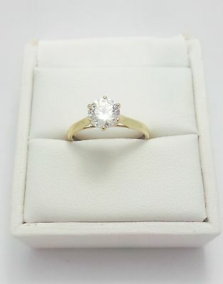 9ct YELLOW GOLD SOLITAIRE GEM RING - RING SIZE L