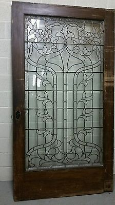 Huge Antique Leaded Glass Door 4 Foot Wide!!!