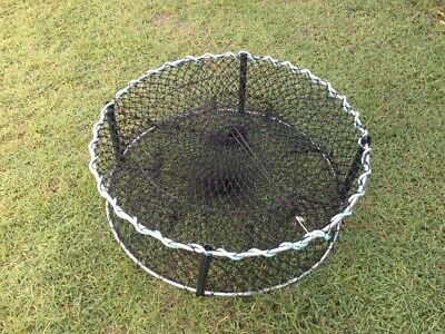 Crab Pots 4 X 800 mm Orange 4 Ent Heavy Mesh Poly Legs 8mm Rings 4 Floats